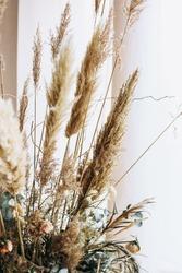 beige dried flowers boho bouquet