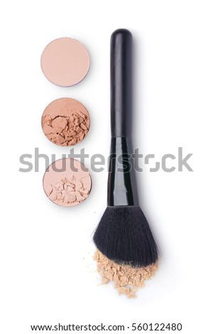 Beige face powder and brush for make up isolated on white background