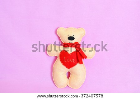 Beige felt Teddy bear - handmade soft toy #372407578