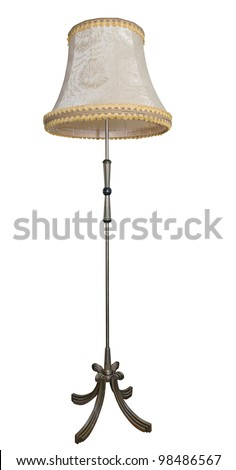 Beige floor lamp isolated over white background