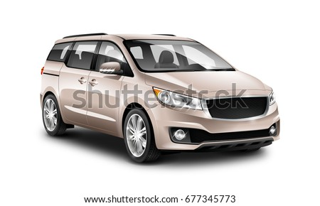 Beige Generic Minivan Car On White Background. MUV, MPV Or High Roof Family Automobile. Perspective view. 3d illustration With Isolated Path.