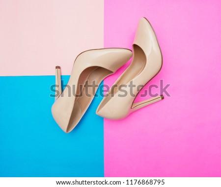 Beige high heel shoes  #1176868795