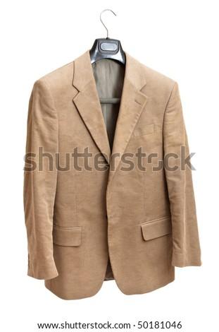 beige jacket on hanger isolated on white background