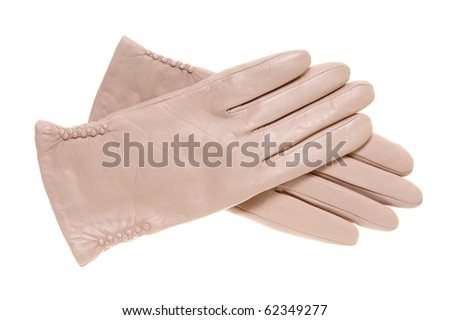 Beige leather gloves isolated on the white