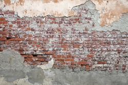Beige Plastered Brickwall With Chipped  Stucco Pieces. Red Textured Brick Wall With Damage Surface. 