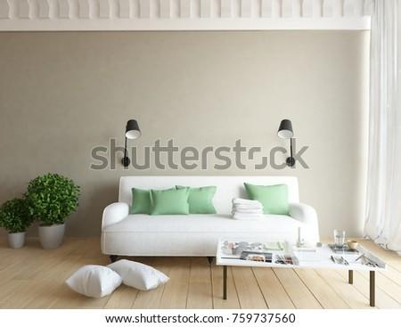 Beige room interior. 3d interior #759737560