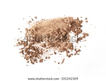 beige scattered eyeshadows isolated on white background