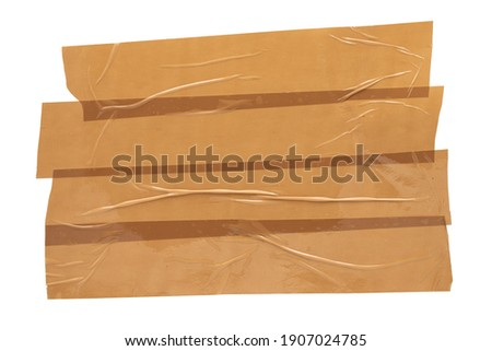 Beige scotch tape, collage of torn adhesive tape glued on top of each other on a white background Photo stock ©