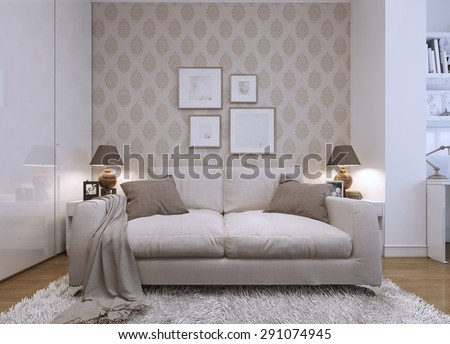 Beige sofa in the living room in a modern style wallpaper for Beige wallpaper living room
