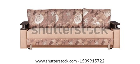 Beige sofa with cushions isolated on white