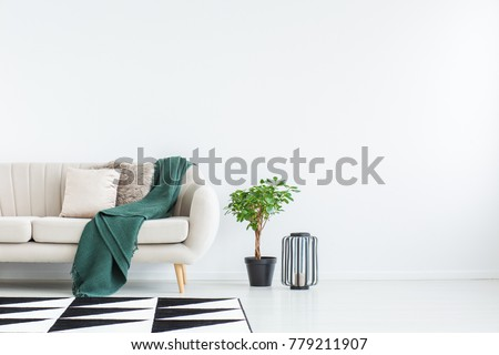 Beige sofa with green blanket and cushions standing against white, empty wall in minimalistic living room #779211907
