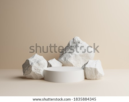 Beige stone concept shop product display strong podium stand commercial advertisement rock white raw nature material. space for placing products fashion cosmetics skincare. 3D illustration.