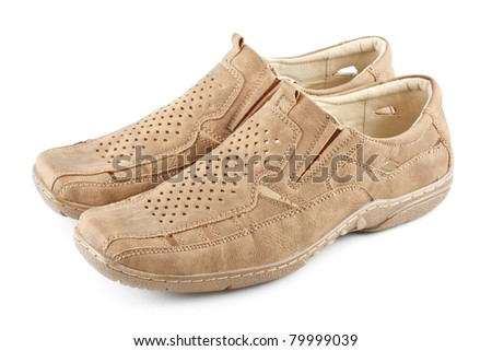 beige suede men shoes isolated on white