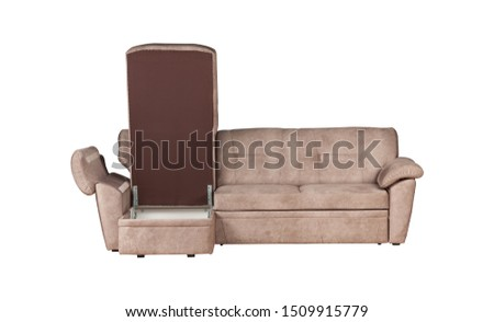 Beige thee-seat couch sofa isolated on white background