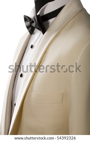 beige tuxedo, white shirt and black bow tie - stock photo