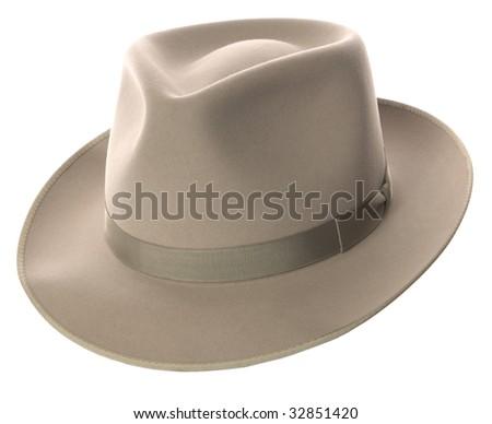 beige vintage fedora hat on white background