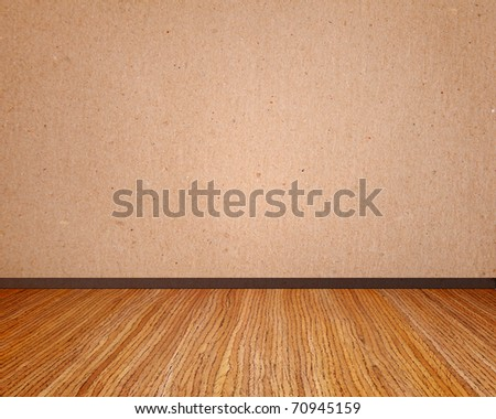Beige wall with wooden floor empty to insert text or design