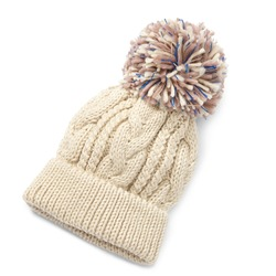 Beige Wool Cable Knit Ski Hat with Faux Fur Pompom Isolated on White. Bobble Hat Topped with Pom Pom or Loose Tassels. Knit Cap Folded Brim. Knitted Warm Hat. Tuque or Toque Outdoors Headgear