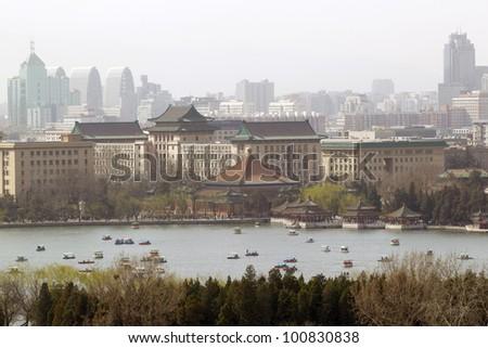 Beihai Park lake as seen from Coal Hill in Jingshan Park, Beijing, China