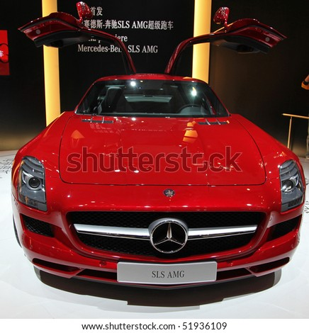 BEIJING-  APRIL 27: A Mercedes-Benz SLS AMG car  is on display at the 2010 Beijing International Automotive Exhibition (Auto China 2010) on April 27, 2010 in Beijing, China.