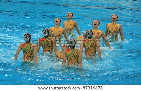 BEIJING - APRIL 24: Hubei team of China competes in the group A Free Combination Final during the China Synchronised Swimming Open 2011 on Apr 24, 2011 in Beijing, China.