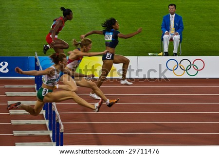 BEIJING - AUG 18: Women's 110 meter hurdle race Summer Olympic Games. August 18, 2008 Beijing, China