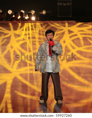 BEIJING - AUGUST 28: Famous Hong Kong actor Jackie Chan performs during the Opening Performance event at the SportAccord Combat Games 2010 Beijing on August 28, 2010 in Beijing, China.