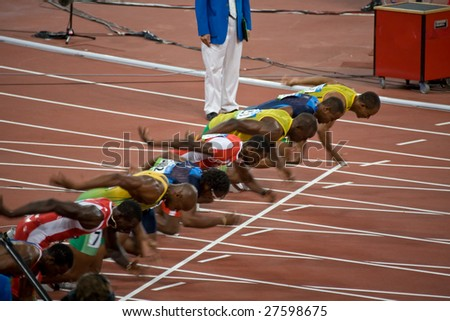 BEIJING - AUGUST 18: Start of Men's 100 meter sprint race where Usain Bolt sets a new world record at the 2008 Summer Olympic August 18, 2008 in Beijing, China.