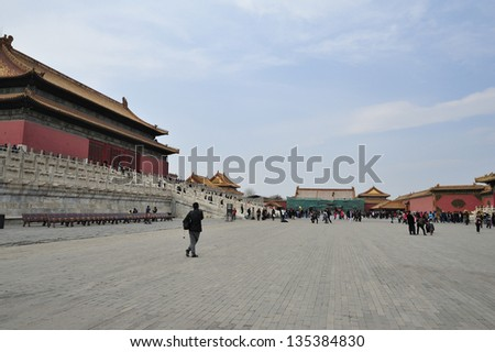 BEIJING, CHINA - APRIL 1:Tourists visit the Forbidden City, Beijing on April 1, 2013. The Forbidden City was the palace for the Chinese Emperors for almost 500 years.