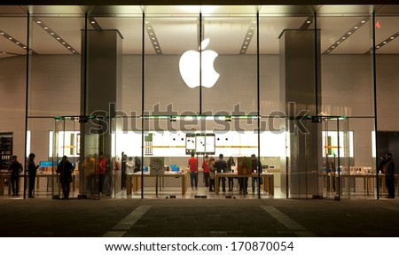 BEIJING, CHINA - JANUARY 12, 2014: Apple store in China Central Place in Chaoyang district. This store was opened on Friday and is Apple's fourth store in Beijing.