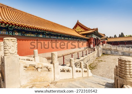 Beijing, China - March 27, 2015: Forbidden City architecture scene. The Forbidden City was built in 1406-1420, served as imperial palace. UNESCO World Heritage.