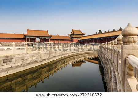 Beijing, China - March 27, 2015:Forbidden City architecture scene. The Forbidden City was built in 1406-1420, served as imperial palace. UNESCO World Heritage.