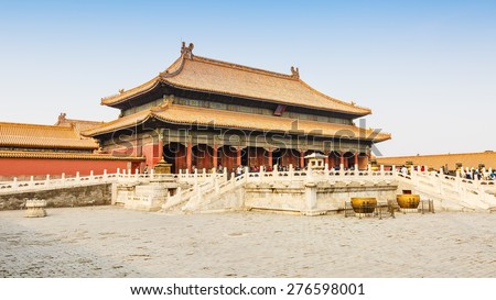 Beijing, China - March 27, 2015:The Forbidden City palace of heavenly purity,  the essence of China Palace?The Forbidden City of China\'s most famous tourist attractions