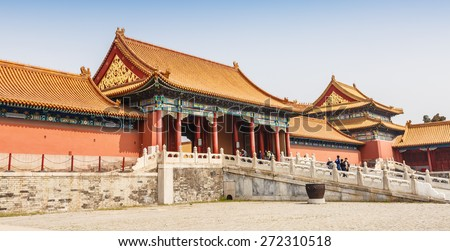 Beijing, China - March 27, 2015:Tourists to visit the Forbidden City, the Forbidden City is one of the most famous tourist attractions in China, received 15270000 tourists  in 2014