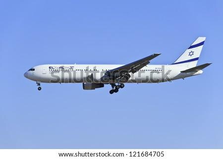 BEIJING-DEC. 9. Boeing 767-330ER, 4X-EAJ from El Al Israel Airlines landing. A two-engined medium-to-long-range widebody airliner with a capacity of maximum 351 passengers. Beijing, Dec. 9, 2012.
