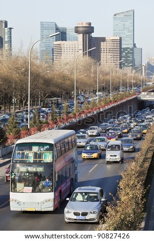 BEIJING - DEC. 14, 2011. Busy 3rd Ring Road Beijing on Dec. 14, 2011. The 3rd Ring Road is 5 KM from the city center, goes through residential and commercial areas and notorious for its traffic jams.