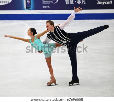 BEIJING-DEC 11: Vera Bazarova and Yuri Larionov of Russia perform in the Pairs-Free Skating event of the ISU Grand Prix of Figure Skating Final on Dec 11, 2010 in Beijing, China.