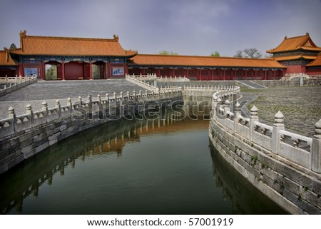 Beijing Forbidden City: View over reflecting canal, cutting through inner courtyard.