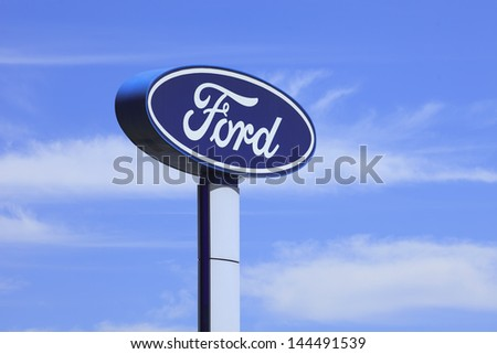 BEIJING-JULY 3 Ford signage Founded by Henry Ford June 16 1903 Ford is the second largest U.S based automaker fifth-largest in the world based on 2010 vehicle sales Beijing July 3 2013