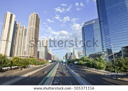 BEIJING, JUNE 16, 2012. Chang�an Avenue on June 16, 2012 in Beijing. The east-west central axis of the city (historic avenue) extends 45 KM from east Tongzhou District  to west Shijingshan District .