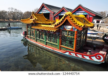 BEIJING - MAR 14:Decorated Chines boat over Kunming Lake at the Summer Palace in Beijing China on March 14 2009. The Summer Palace is the best preserved imperial garden in the world.