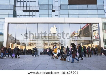 BEIJING- MARCH 10, 2012. Apple store on March 10, 2012 in Beijing. In 2011, Apple sold 172 million iPods, iPhones and iPads, These post-PC devices making up a total of 76-percent of Apple's revenue.