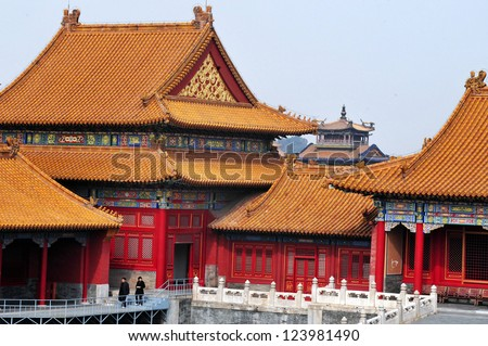 BEIJING - MARCH 11:Visitors at the The Forbidden City on March 11 2009 in Beijing, China.The Forbidden City it\'s on of the biggest palaces in the world occupies 720,000 square meters.