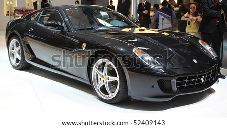 BEIJING - MAY 2: A Ferrari 599 GTB Fiorano is on display at the 2010 Beijing International Automotive Exhibition (Auto China 2010) on May 2, 2010 in Beijing, China.