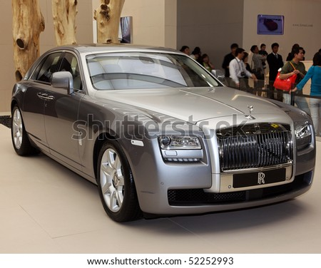BEIJING - MAY 2: A Rolls-Royce Ghost is on display at the 2010 Beijing International Automotive Exhibition (Auto China 2010) on May 2, 2010 in Beijing, China.