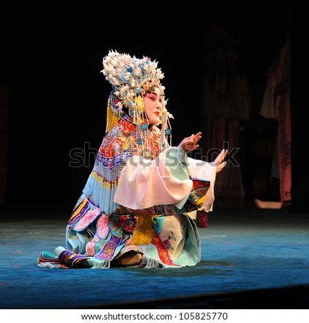 """BEIJING - MAY 28: Actors of the Beijing Opera Troupe perform the famous story """"Farewell to my Concubine"""" at the Liyuan Theatre on May 28, 2012, in Beijing, China."""