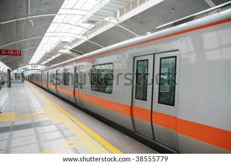 beijing metro transit vehicle in motion - stock photo
