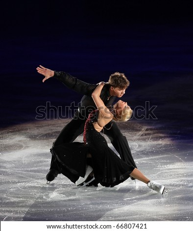 BEIJING - NOV 7: Ekaterina Bobrova / Dmitri Soloviev of Russia perform in the Gala Exhibition event of the SAMSUNG Cup of China ISU Grand Prix of Figure Skating 2010 on Nov 7, 2010 in Beijing, China.