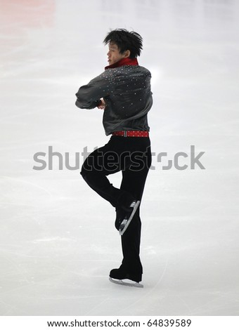 BEIJING-NOV 6: Jialiang Wu of China performs in the Men-Free Skating event of the SAMSUNG Cup of China ISU Grand Prix of Figure Skating 2010 on Nov 6, 2010 in Beijing, China.