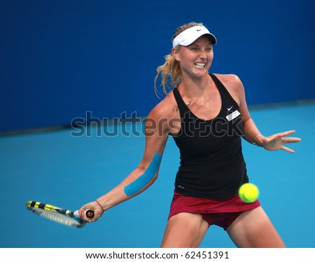 BEIJING-OCT 1: Sacha Jones of New Zealand during her match against Vera Dushevina of Russia at the 2010 China Open on October 1, 2010 in Beijing, China.